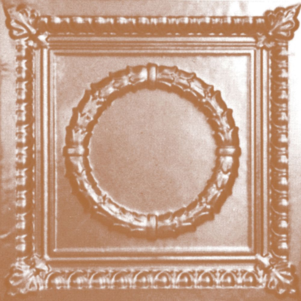 Carreau de plafond en acier plaqué cuivre à motif répété aux 24 pouces et installation clouée 2 p...