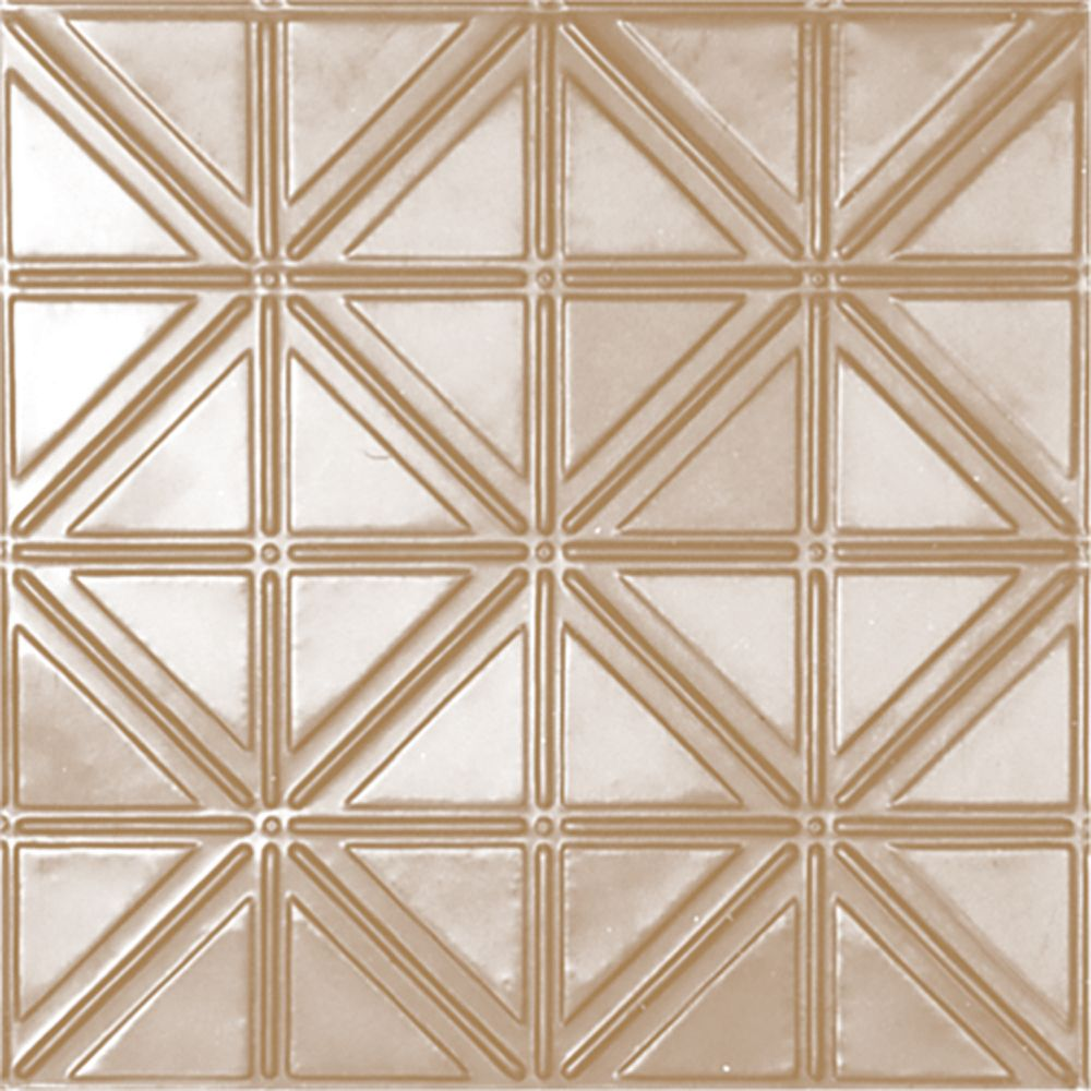 2 Feet x 2 Feet Brass Plated Steel Lay-In Ceiling Tile Design Repeat Every 6 Inches
