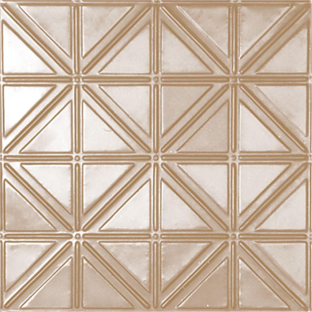 Carreau de plafond en acier plaqué laiton à motif répété aux 6 pouces et installation encastrée 2...