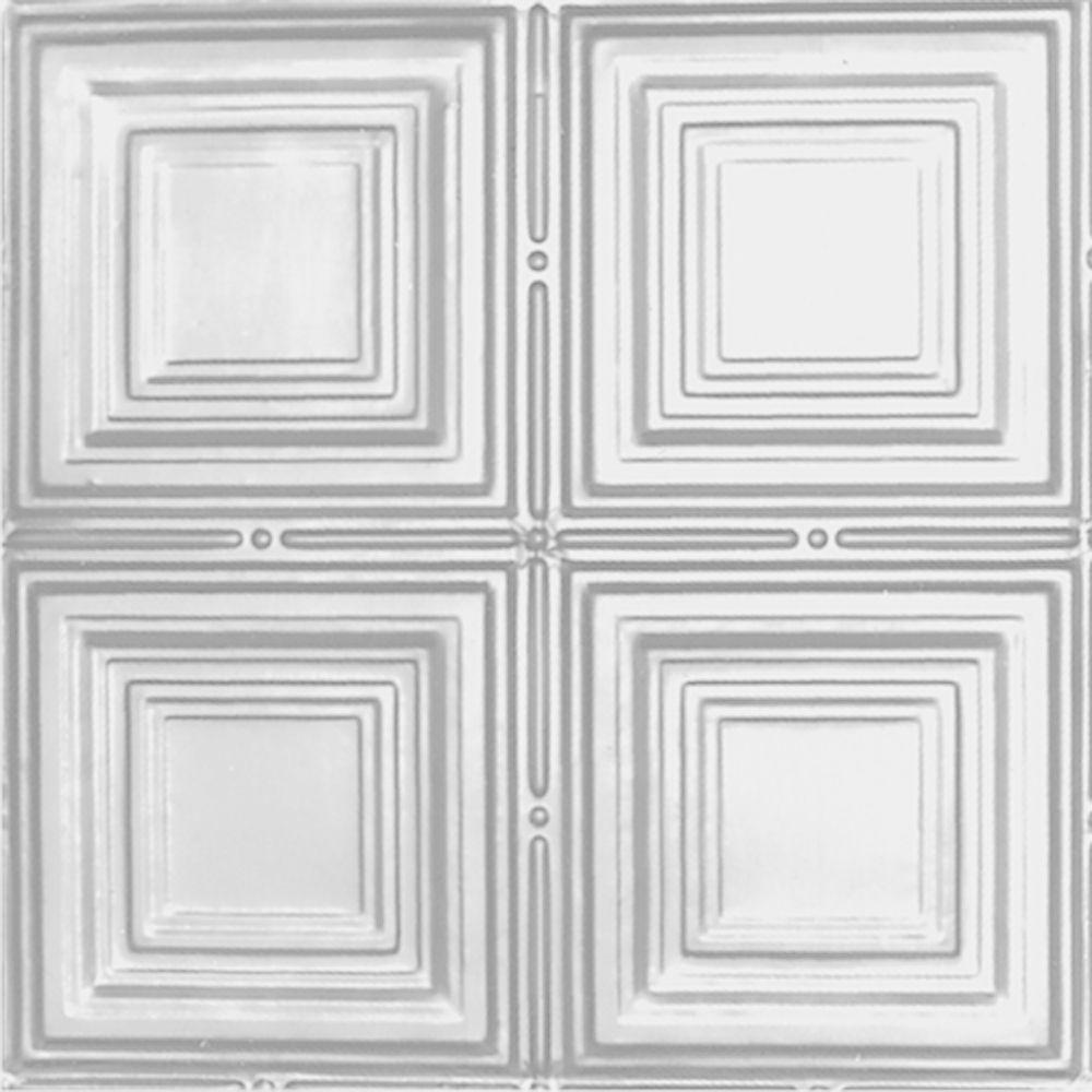 Carreau de plafond en acier blanchi à motif répété aux 12 pouces et installation encastrée 2 pi x...