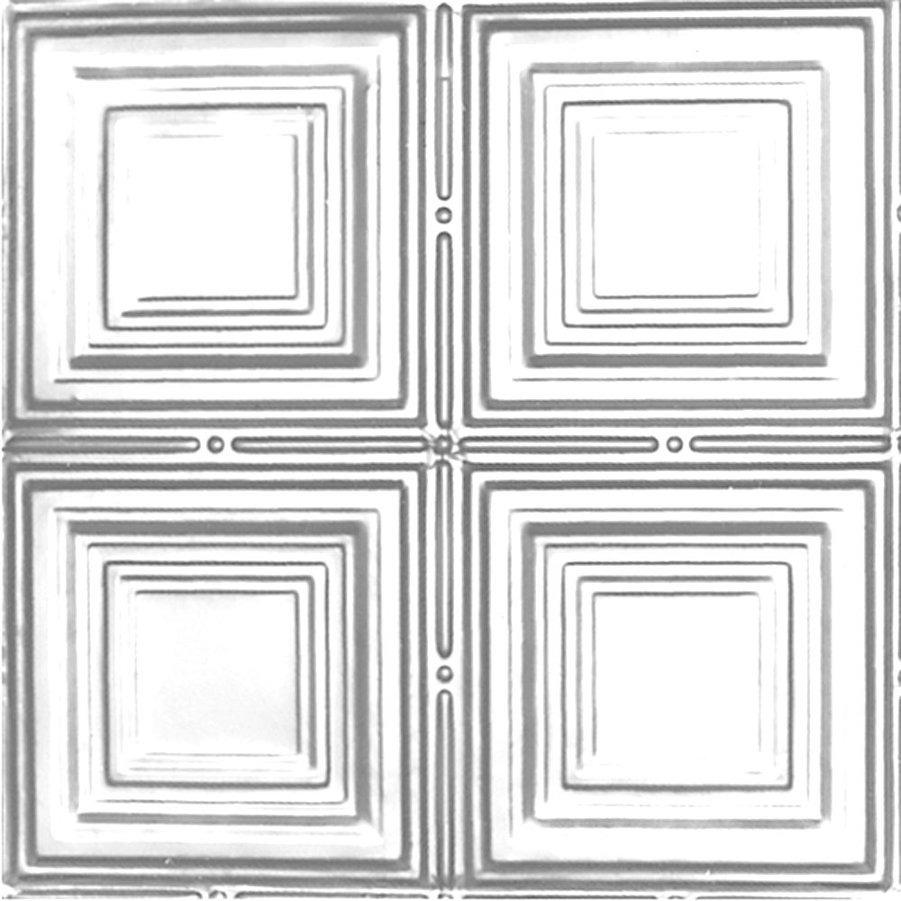 2 Feet x 4 Feet Chrome Plated Steel Nail-Up Ceiling Tile Design Repeat Every 12 Inches