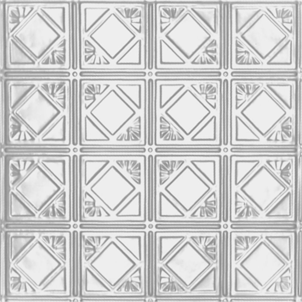 Carreau de plafond en acier blanchi à motif répété aux 6 pouces et installation clouée 2 pi x 4 p...