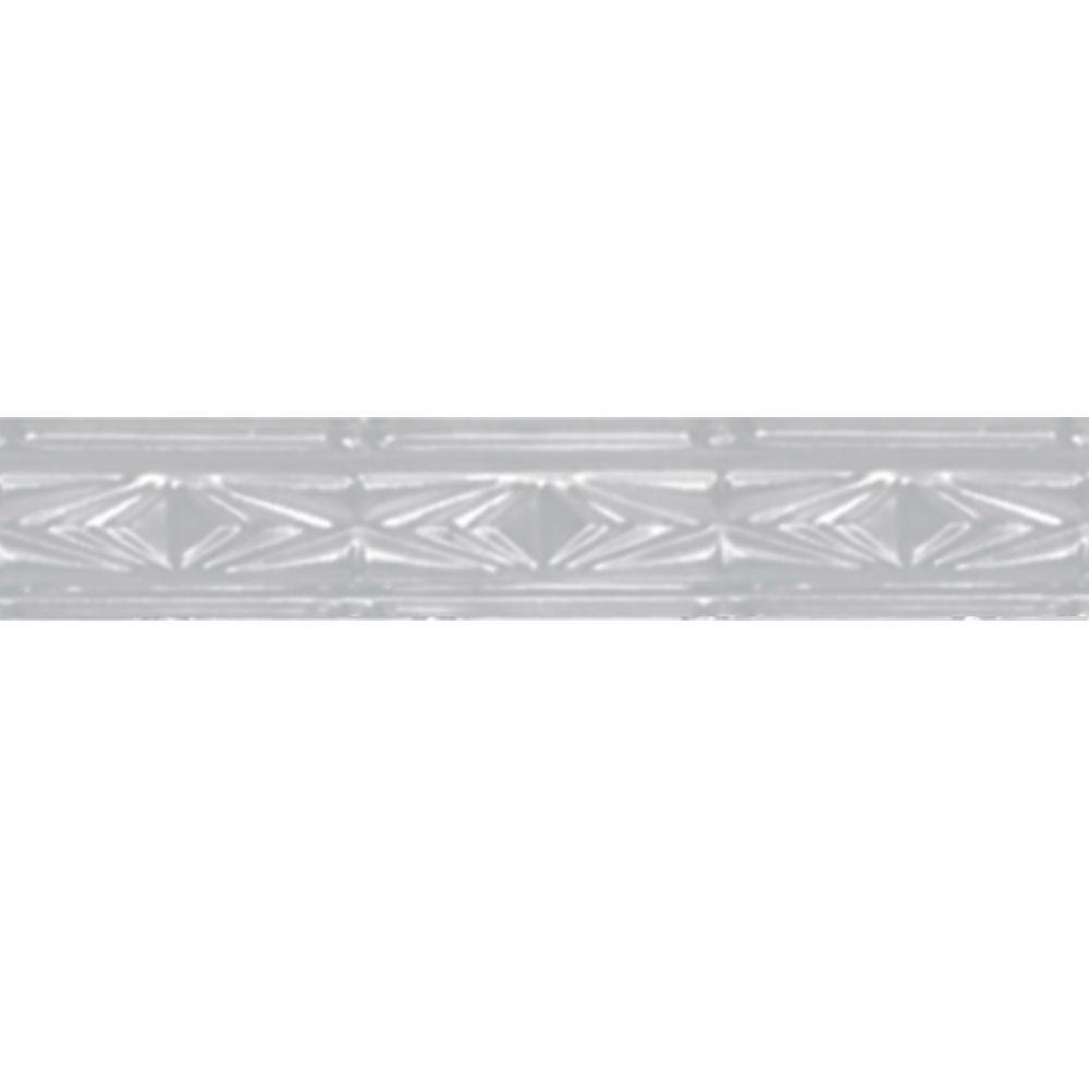 Corniche en acier blanchi, 3 po en saillie x 4pi longueur