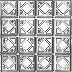 Shanko 2 Feet x 4 Feet Steel Silver Nail-Up Ceiling Tile Design Repeat Every 6 Inches