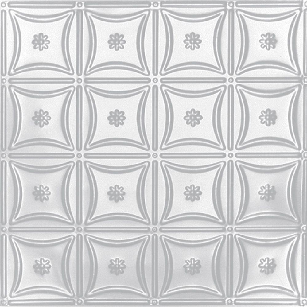 Carreau de plafond en acier blanchi à motif répété aux 6 pouces et installation encastrée 2 pi x ...