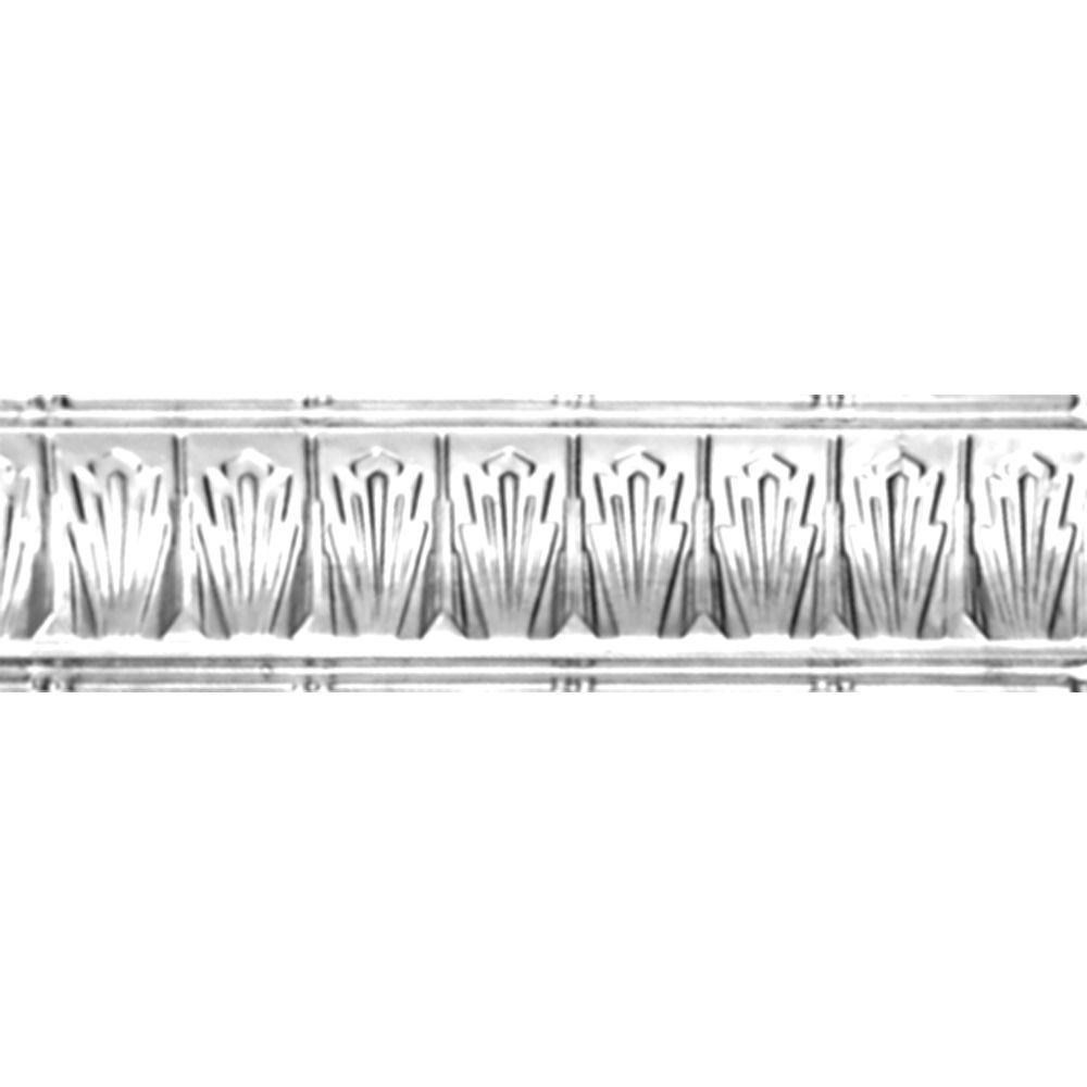 Corniche en acier plaqué chrome, 2,5 po en saillie x 2,5 po profondeur x 4 pi longueur