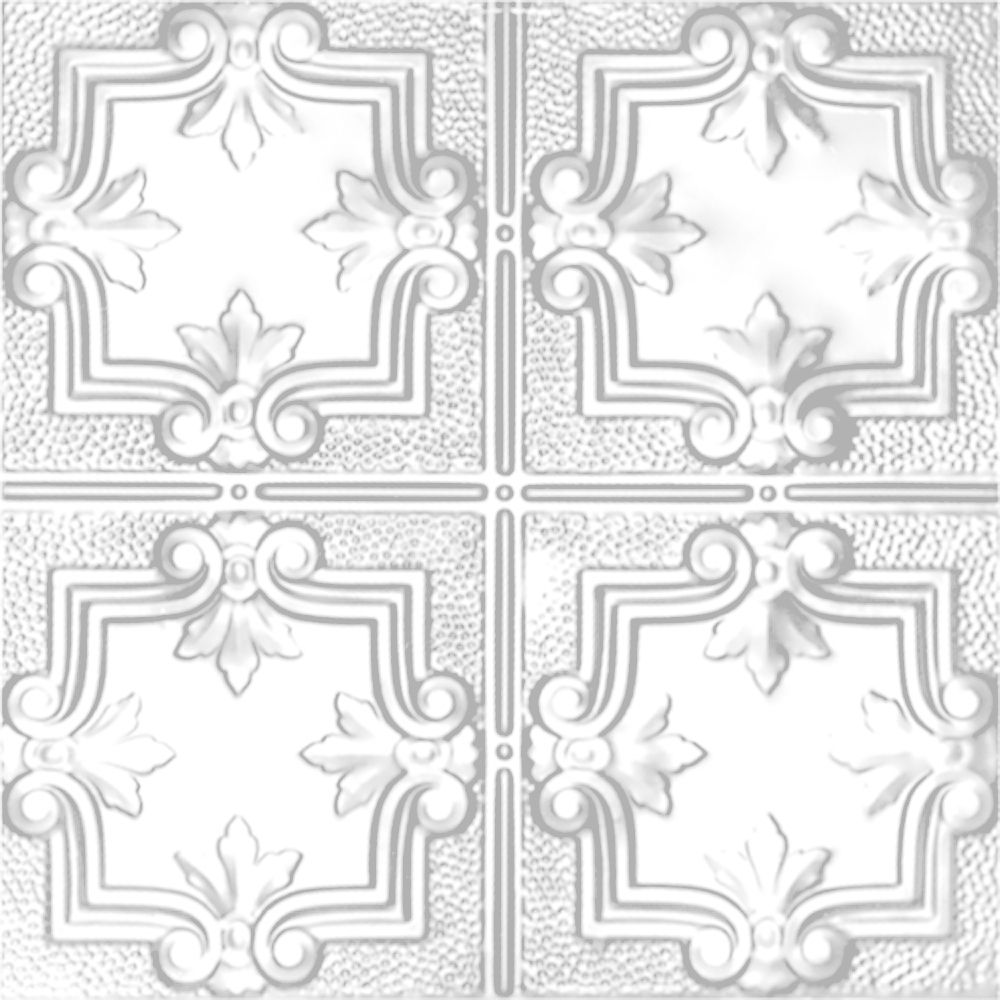 2 Feet x 4 Feet White Finish Steel Nail-Up Ceiling Tile Design Repeat Every 12 Inches
