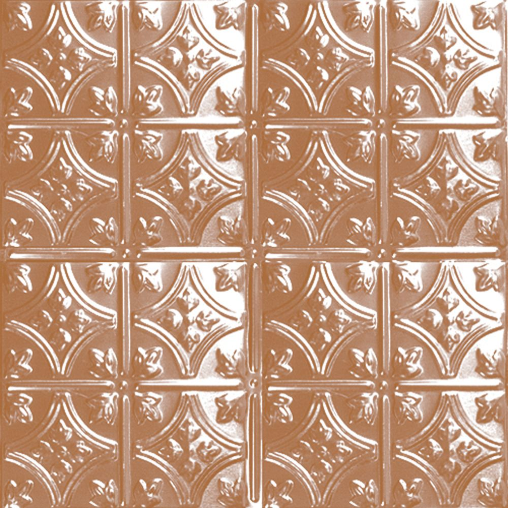2 Feet x 2 Feet Copper Plated Steel Lay-In Ceiling Tile Design Repeat Every 6 Inches
