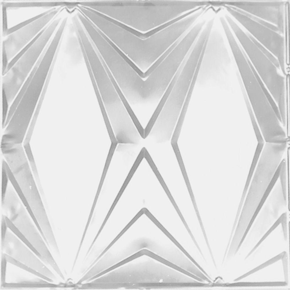 Carreau de plafond en acier blanchi à motif répété aux 24 pouces et installation clouée 2 pi x 4 ...
