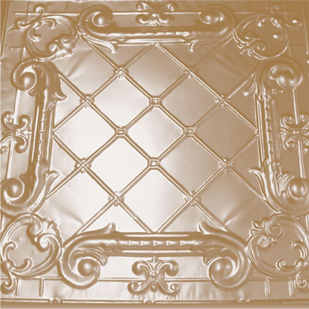 Carreau de plafond en acier plaqué laiton à motif répété aux 24 pouces et installation encastrée ...