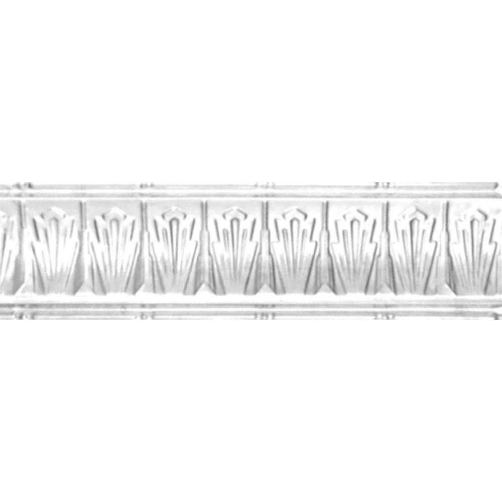 Corniche en acier blanchi, 2,5 po en saillie x 2,5 po profondeur x 4 pi longueur