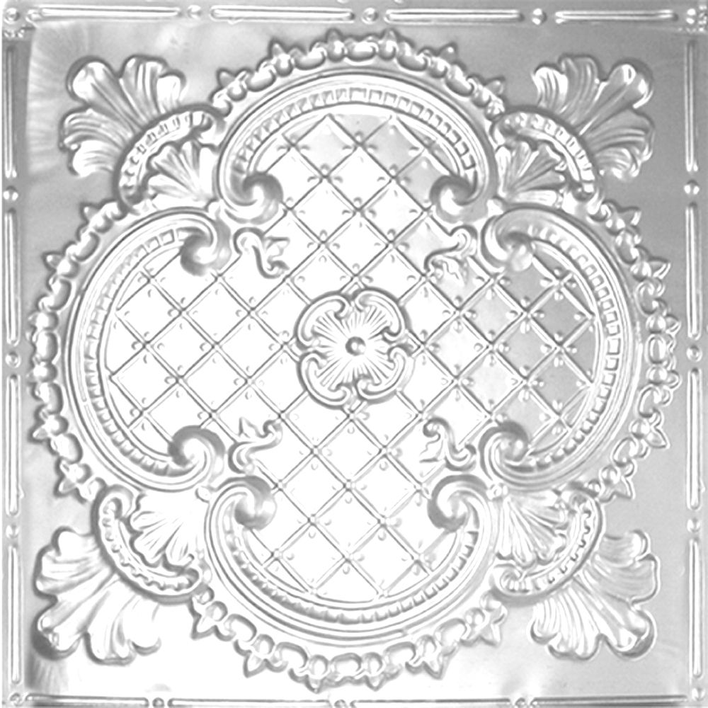 2 Feet x 2 Feet Chrome Plated Steel Lay-In Ceiling Tile Design Repeat Every 24 Inches