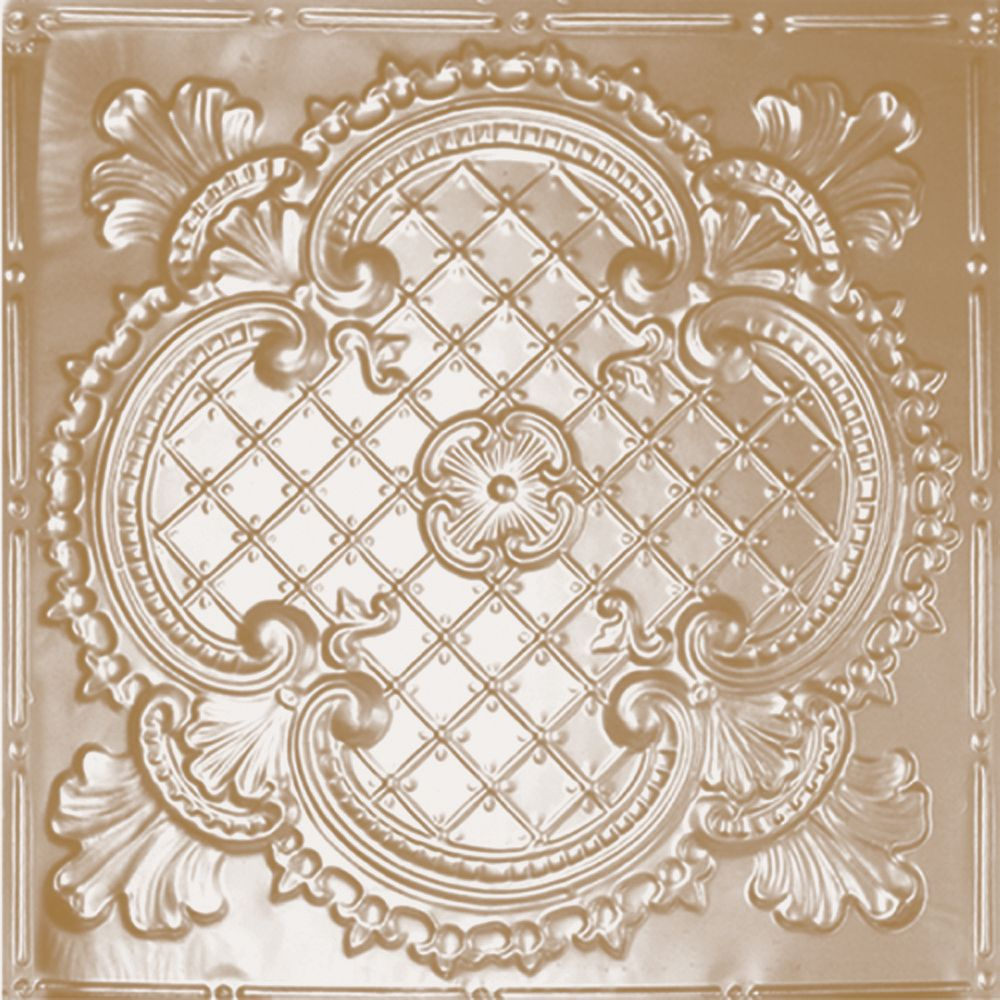 Shanko 2 Feet x 2 Feet Brass Plated Steel Lay-In Ceiling Tile Design Repeat Every 24 Inches