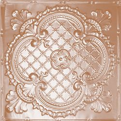 Shanko 2 Feet x 4 Feet Copper Plated Steel Nail-Up Ceiling Tile Design Repeat Every 24 Inches
