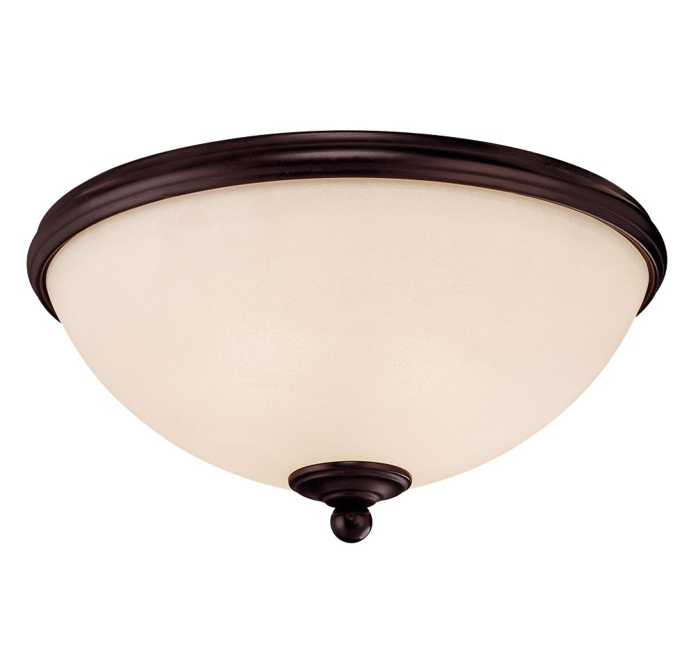 Satin 2-Light Bronze Flush Mount with White Glass