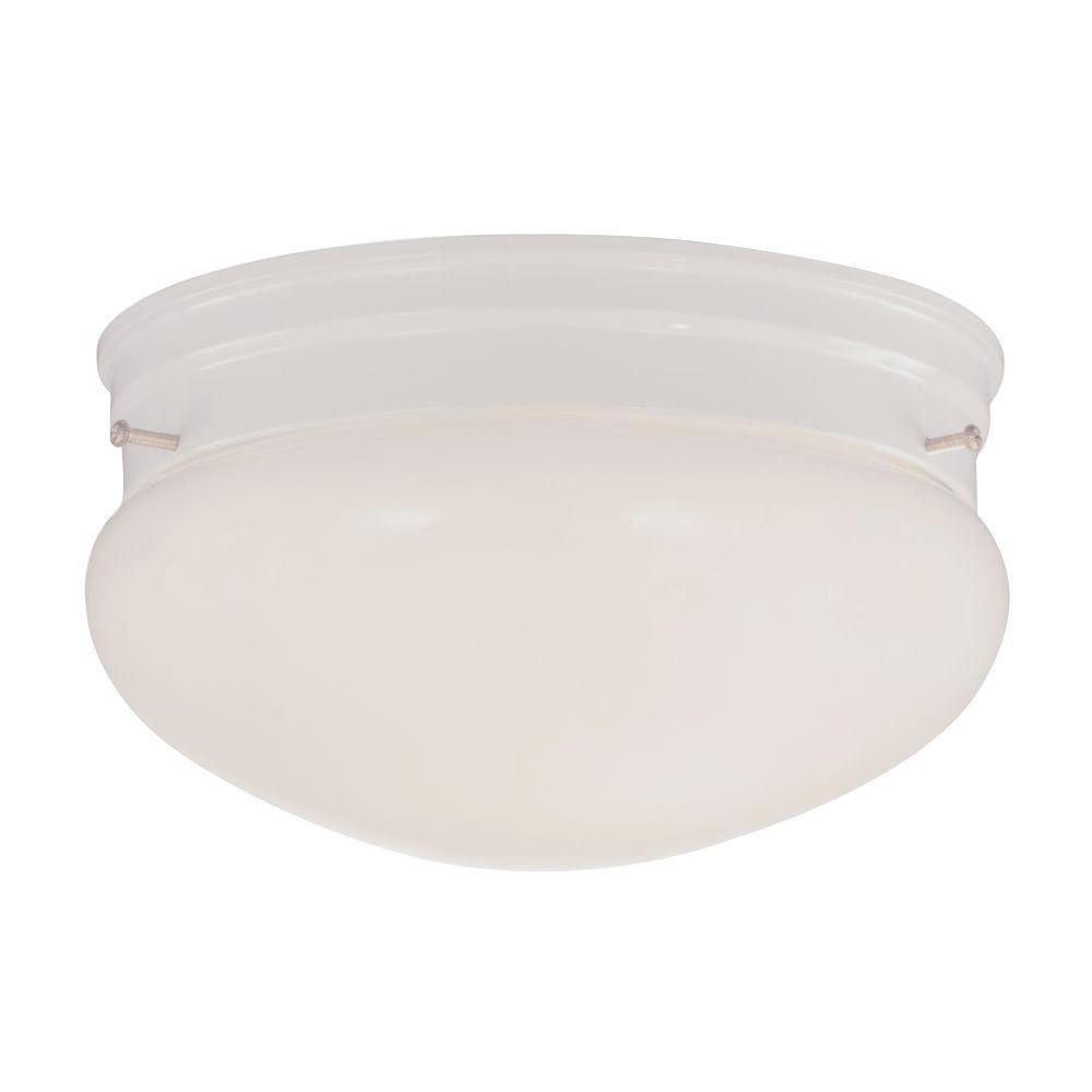 Satin 2 Light White Incandescent Flush Mount With MultiColour Glass