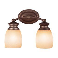 Illumine Satin 2 Light Bronze Incandescent Bath Bar With White Glass