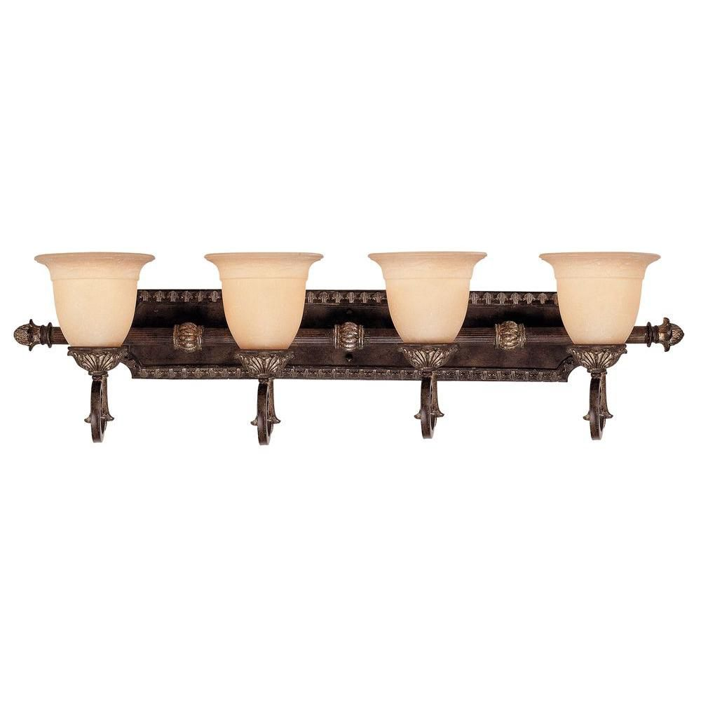Satin 3-Light Bronze Bath Bar with White Glass