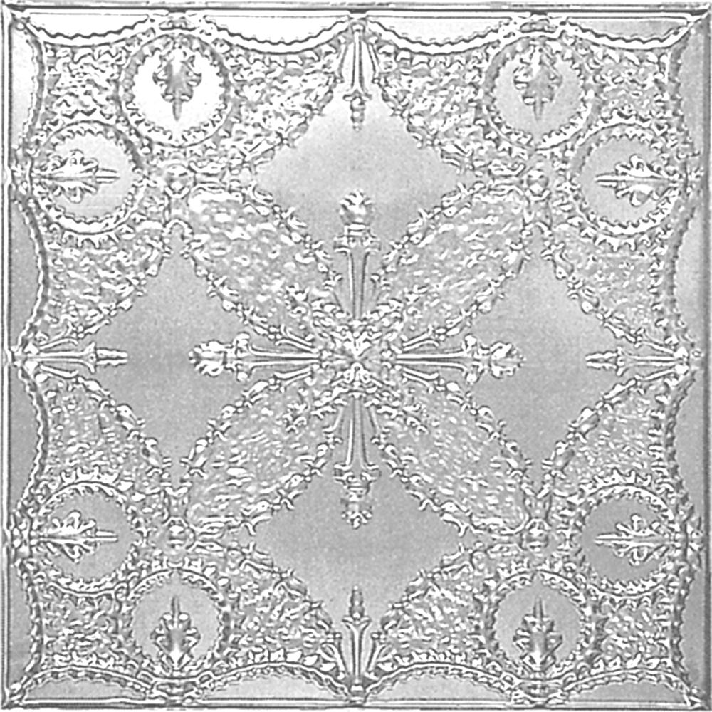 2 Feet x 4 Feet Chrome Plated Steel Finish   Nail-Up Ceiling Tile Design Repeat Every 24 Inches