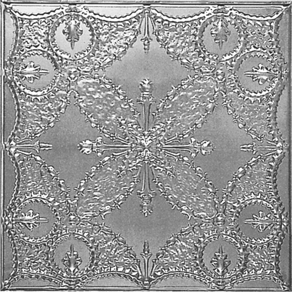 2Feet X 4Feet Steel Silver Nail-Up Ceiling Tile  Design Repeat Every 24 Inches