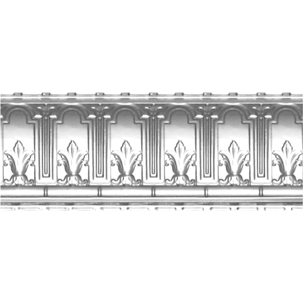 Chrome Plated Steel Cornice 9.5  Inches  Projection x 9.5  Inches  Deep x 4 Feet Long