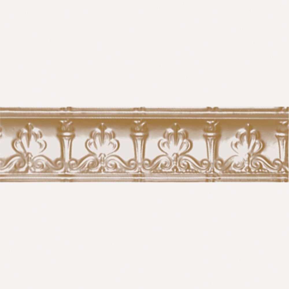 Brass Plated Steel Cornice 4  Inches  Projection x 4  Inches  Deep x 4 Feet Long
