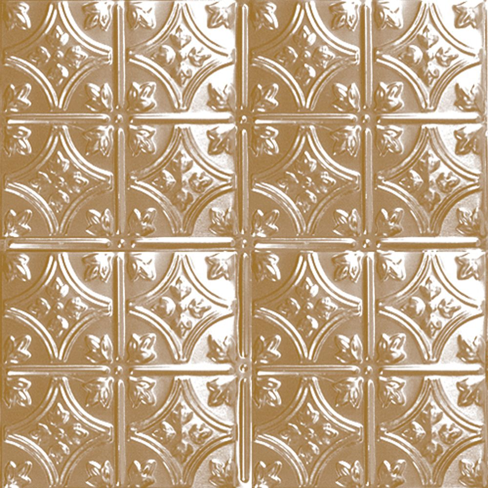 2 Feet x 4 Feet Brass Plated Steel Nail-Up Ceiling Tile Design Repeat Every 6 Inches