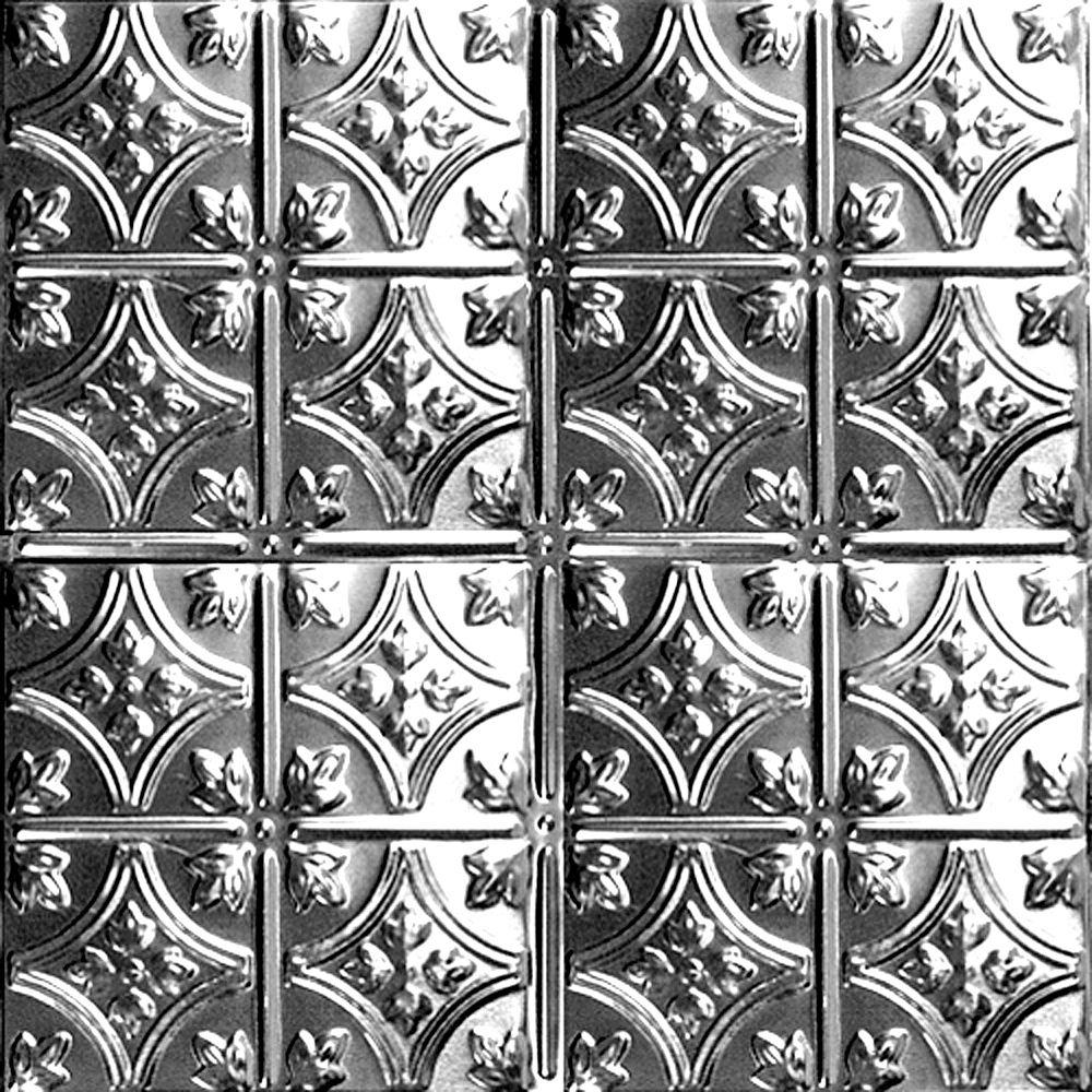 Carreau de plafond en acier laqué à motif répété aux 6 pouces et installation clouée 2 pi x 4 pi