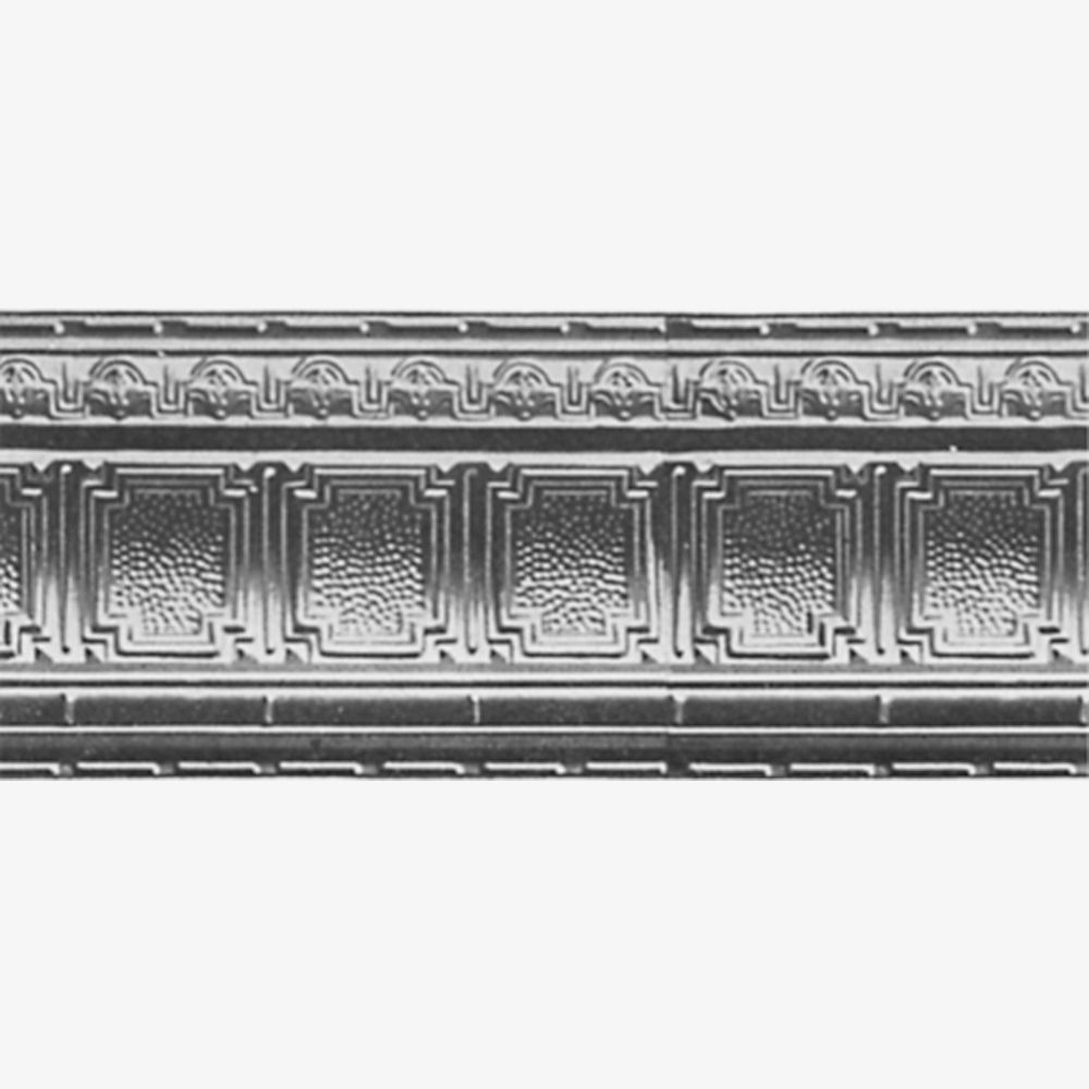 Steel Silver Finish Cornice 4  Inches  Projection x 4  Inches  Deep x 4 Feet Long