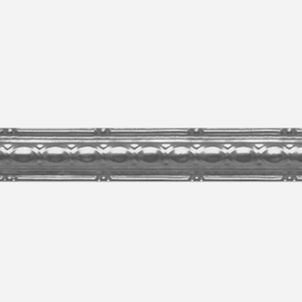 Corniche en acier argenté, 2,5 po en saillie x 4pi longueur