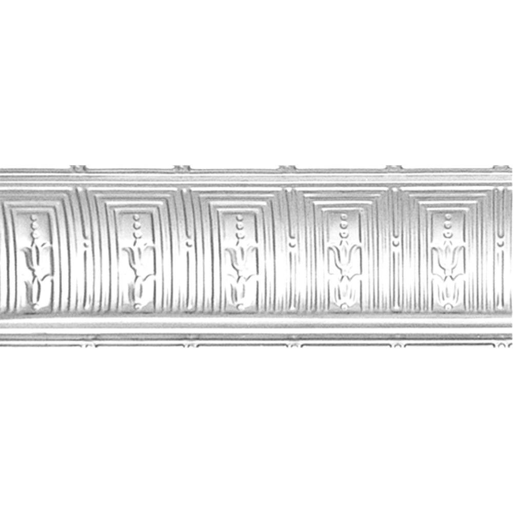 Chrome Plated Steel Cornice 8-3/4  Inches  Projection x 8-3/4  Inches  Deep x 4 Feet Long