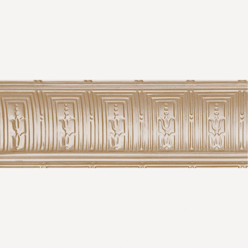 Brass Plated Steel Cornice 8-3/4  Inches  Projection x 8-3/4  Inches  Deep x 4 Feet Long