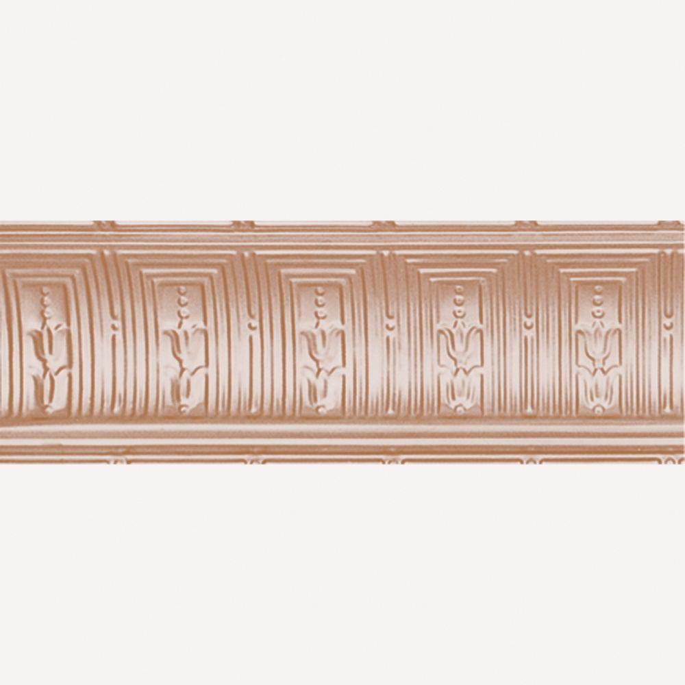 Corniche en acier plaqué cuivre, 8 3/4 po en saillie x 8 3/4 po profondeur x 4pi longueur