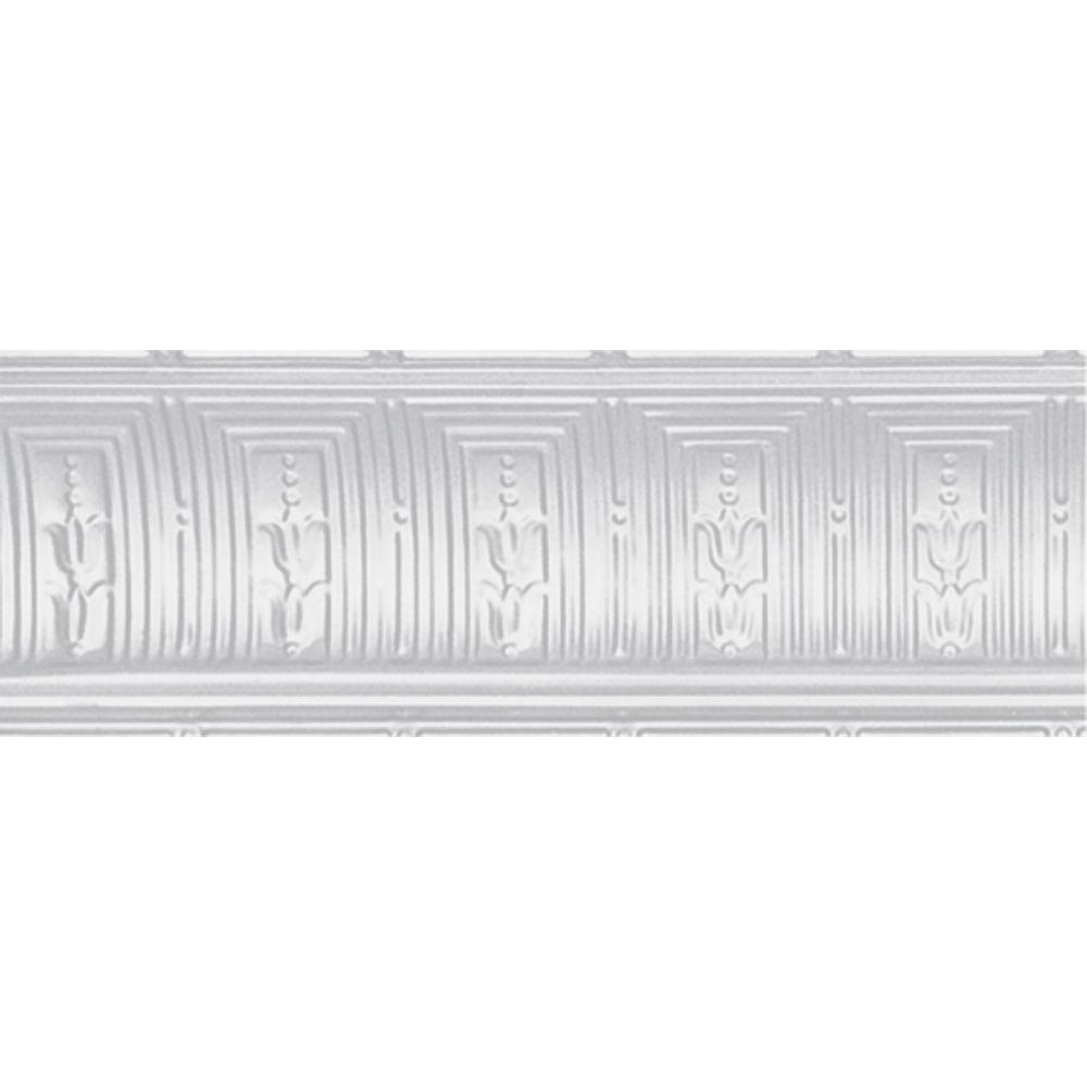 Corniche en acier blanchi, ,8 3/4 po en saillie x 8 3/4 po profondeur x 4pi longueur