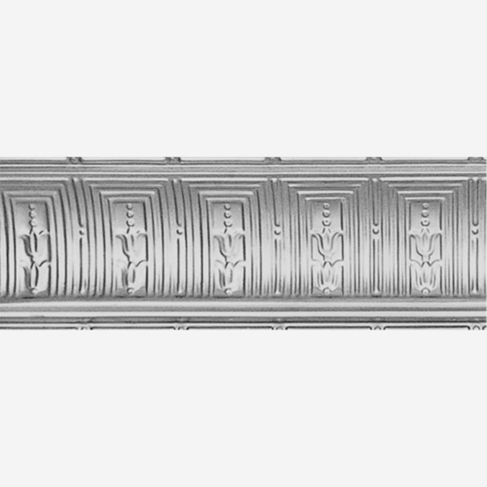 Steel Silver Finish Cornice 8-3/4  Inches  Projection x 8-3/4  Inches  Deep x 4 Feet Long