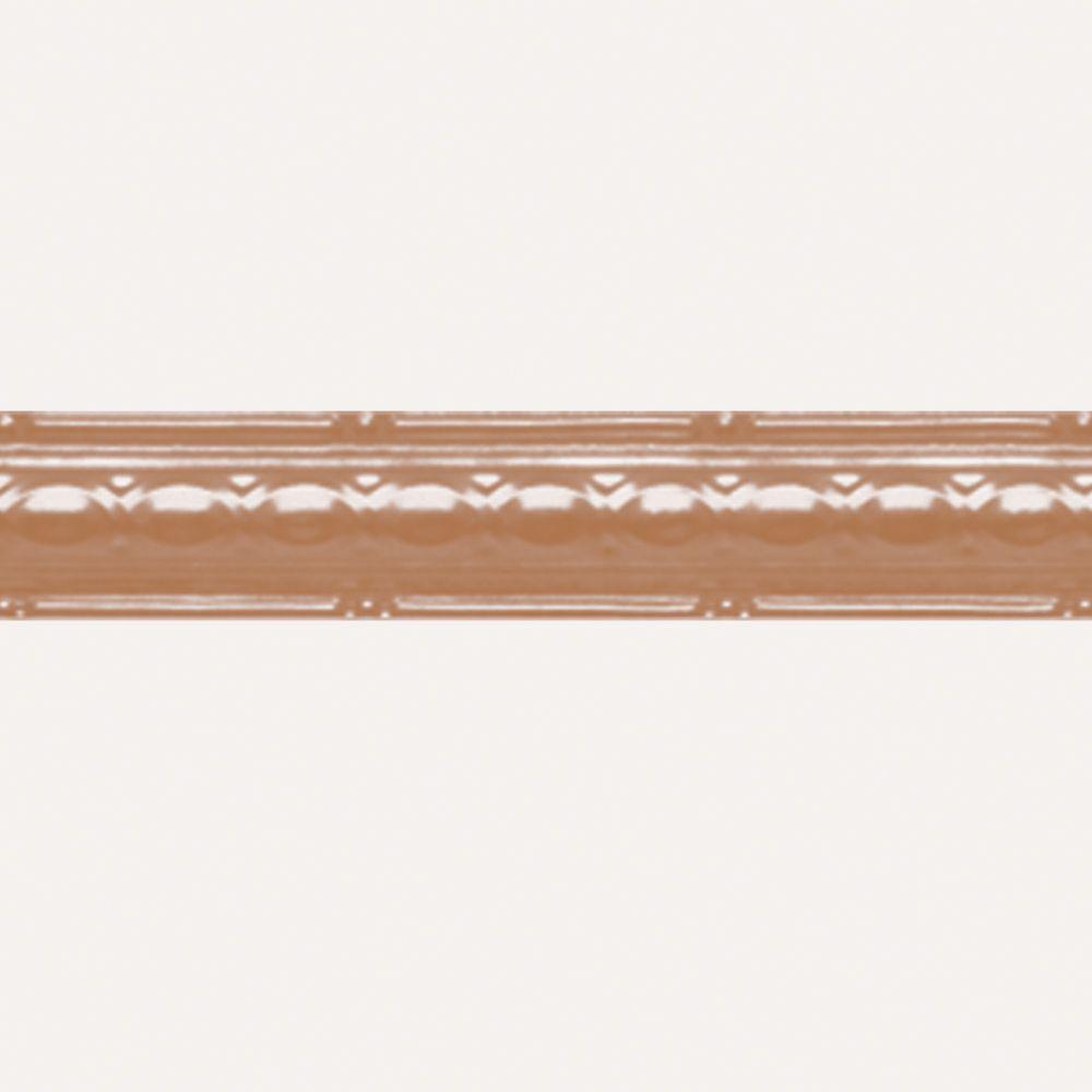 Corniche en acier plaqué cuivre, 2,5 po en saillie x 4pi longueur
