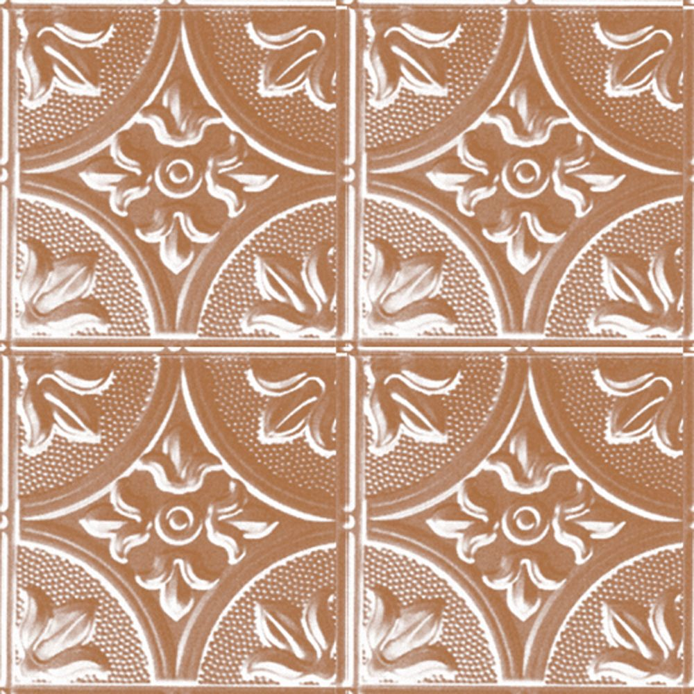 2 Feet x 4 Feet Copper Plated Steel Nail-Up Ceiling Tile Design Repeat Every 12 Inches
