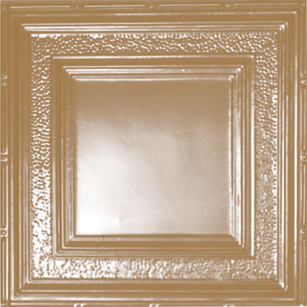 Carreau de plafond en acier plaqué laiton à motif répété aux 24 pouces et installation clouée 2p...