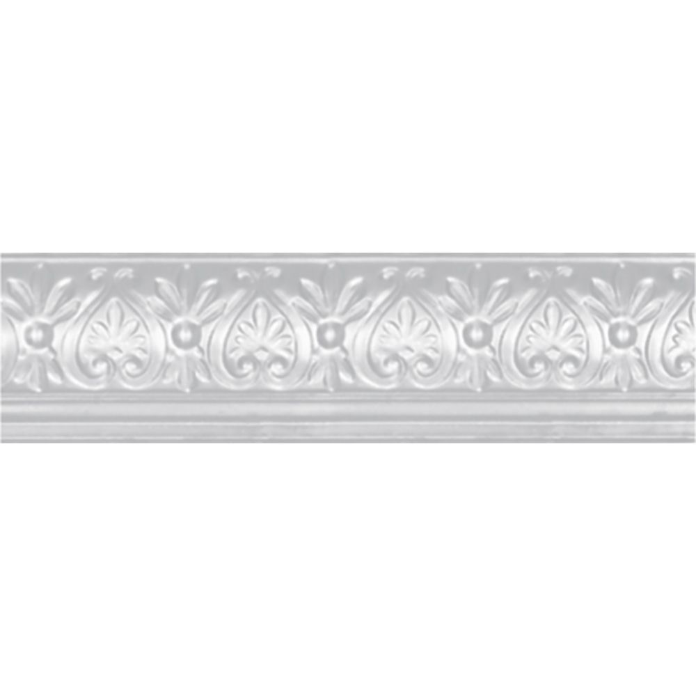 White Finish Steel Cornice 6.25  Inches  Projection x 6 5/8  Inches  Deep x 4 Feet Long