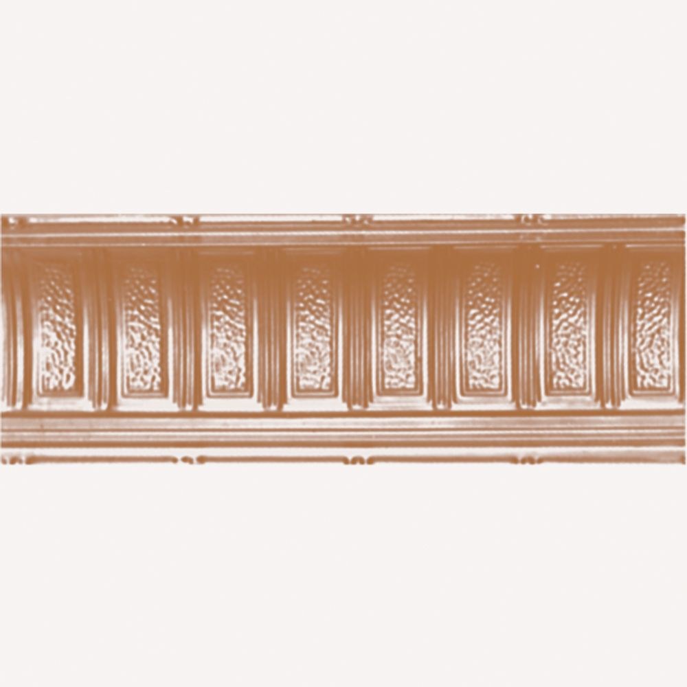 Corniche en acier plaqué cuivre, 6 po en saillie x 6 po profondeur x 4pi longueur