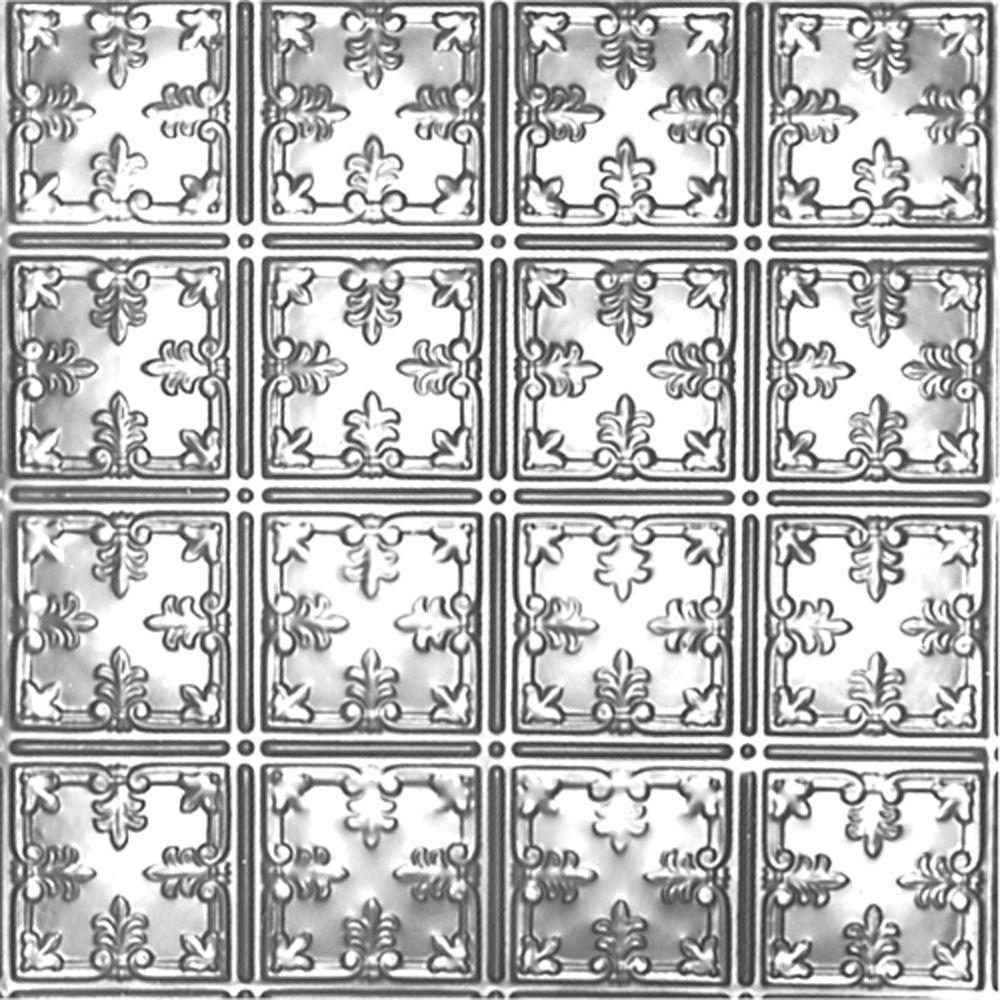 Carreau de plafond en acier plaqué chrome à motif répété aux 6 pouces et installation clouée 2 pi...