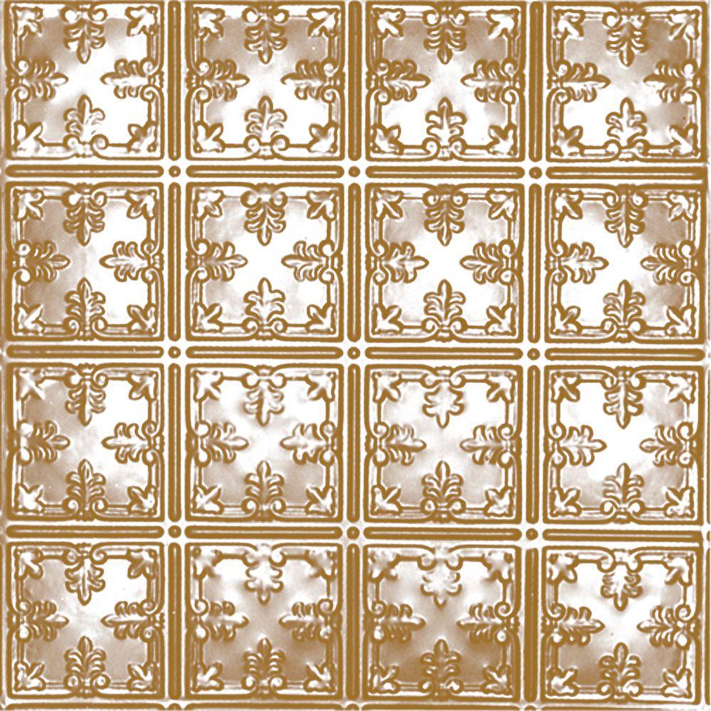 Carreau de plafond en acier plaqué laiton à motif répété aux 6 pouces et installation clouée 2 pi...