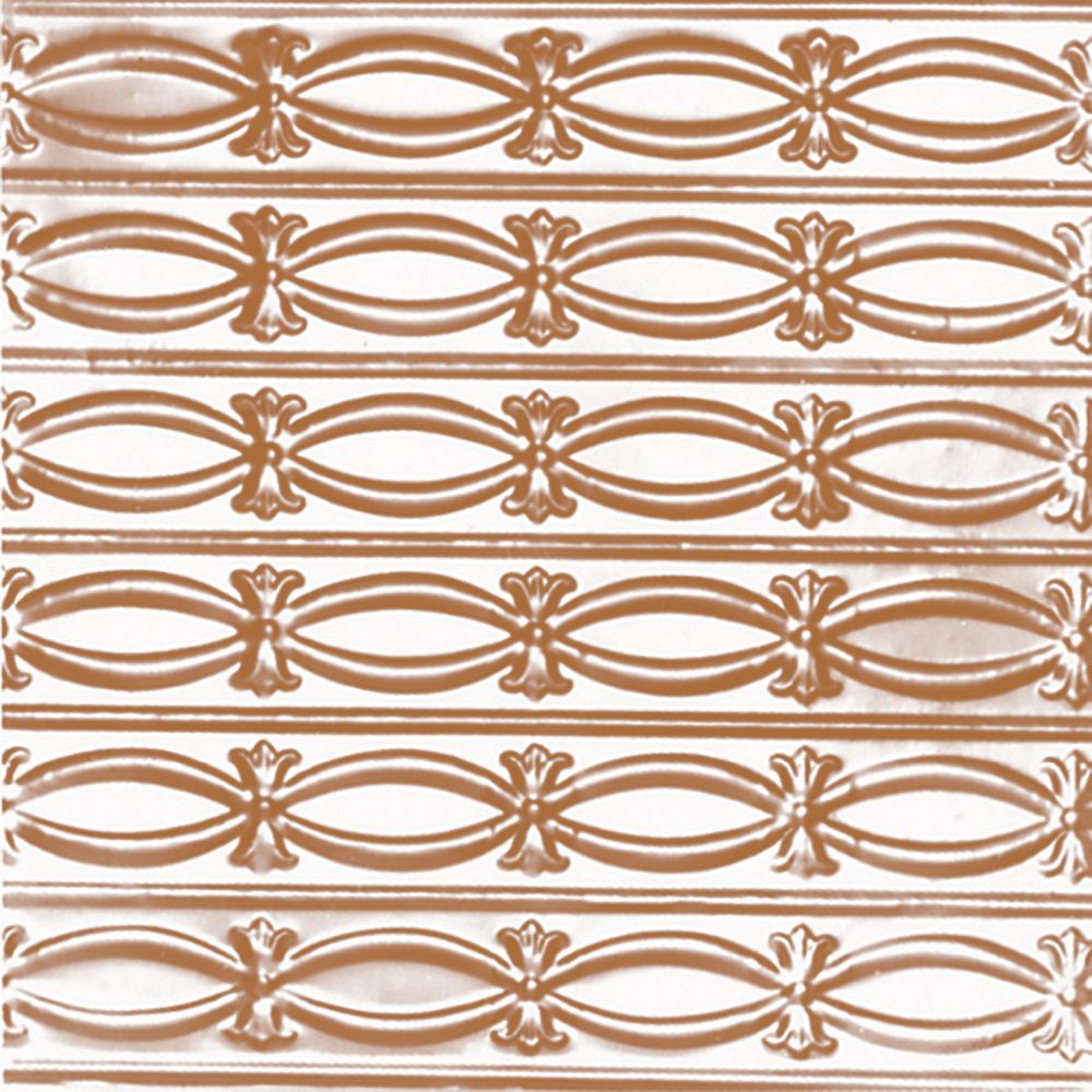 2 Feet x 4 Feet Copper Plated Steel   Nail-Up Ceiling Tile Beaded Plate