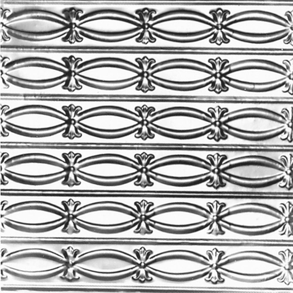 2 Feet x 4 Feet Steel Silver Nail-Up Ceiling Tile Beaded Plate