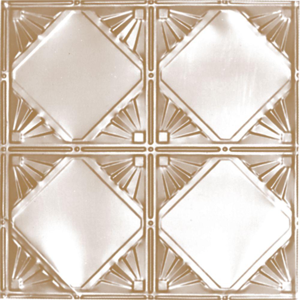 Carreau de plafond en acier plaqué laiton à motif répété aux 12 pouces et installation encastrée ...