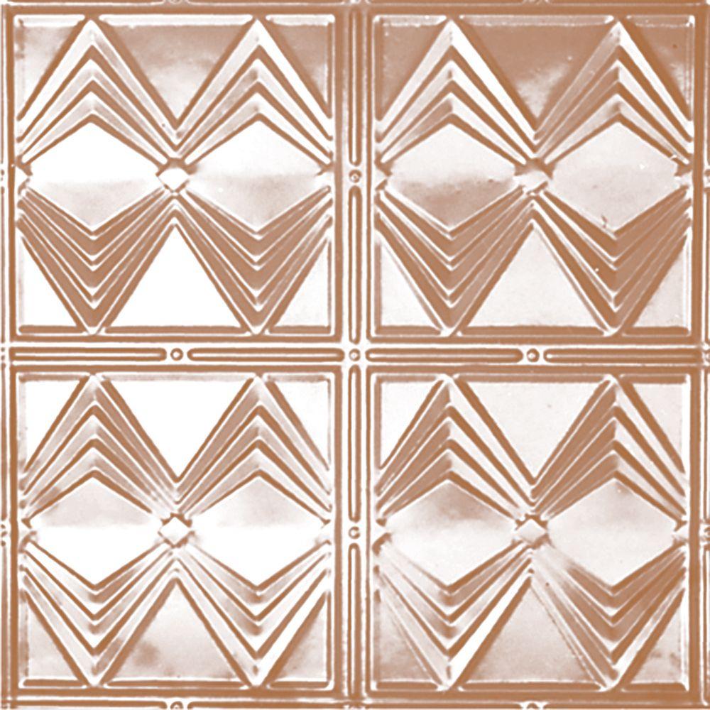 Carreau de plafond en acier plaqué cuivre à motif répété aux 12 pouces et installation clouée 2p...
