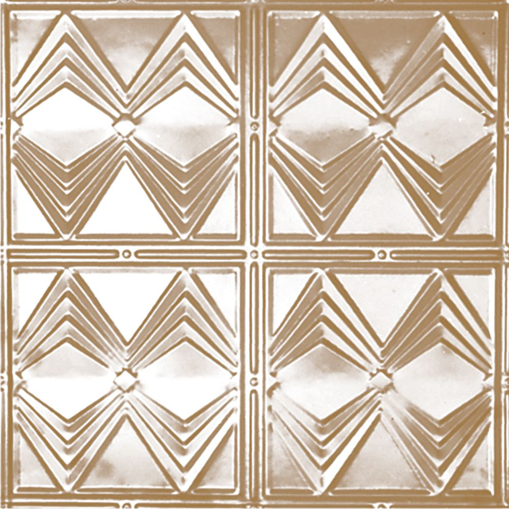 2 Feet x 4 Feet Brass Plated Steel Finish   Nail-Up Ceiling Tile Design Repeat Every 12 Inches