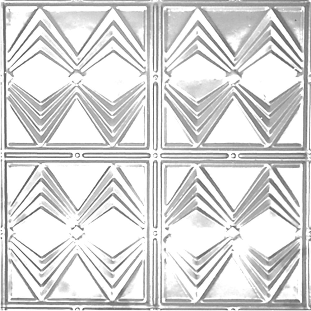 2 Feet x 4 Feet Chrome Plated Steel Finish   Nail-Up Ceiling Tile Design Repeat Every 12 Inches