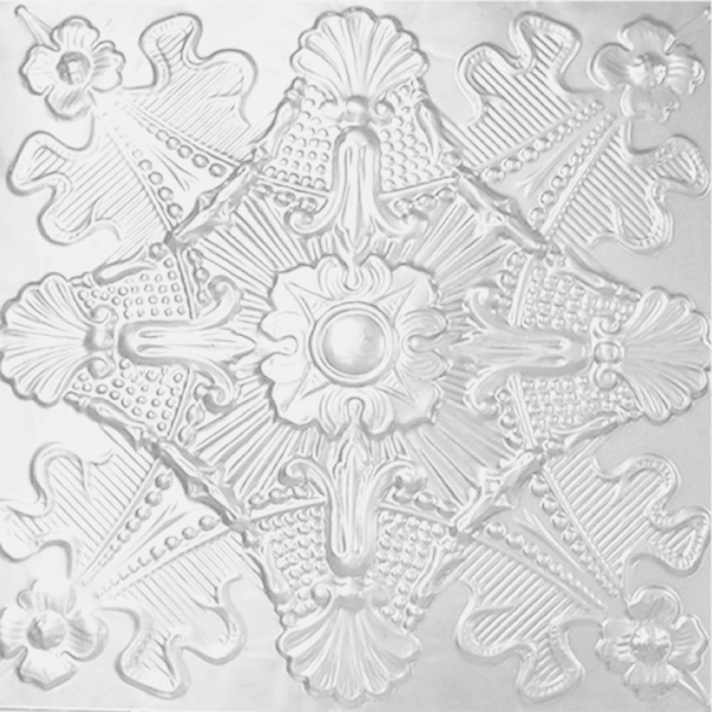 2 Feet x 2 Feet White Finish Steel Lay-In Ceiling Tile  Design Repeat Every 24 Inches