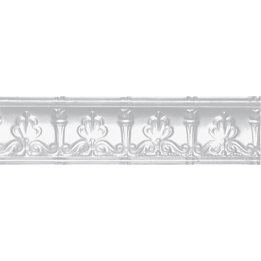 Corniche en acier blanchi, 4 po en saillie x 4 po profondeur x 4pi longueur